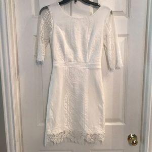 White lace open back dress!
